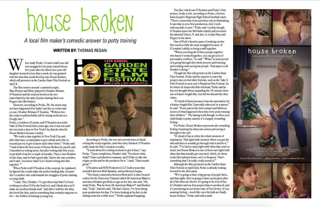 Talk Of The Town Article on HOUSE BROKEN